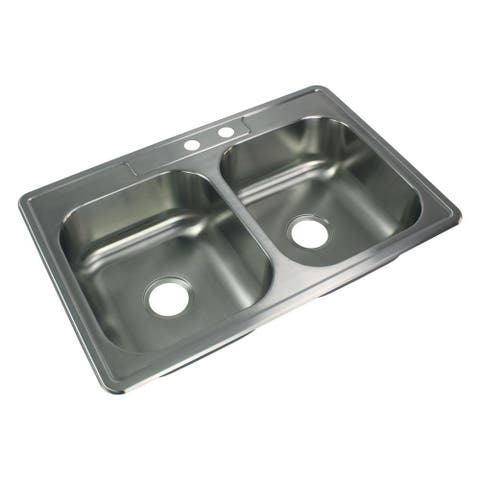 Transolid Select 33-in 20 Gauge Drop-in Double Bowl Kitchen Sink with MR2 Faucet Holes - 2