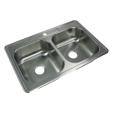 Transolid Select 33-in 20 Gauge Drop-in Double Bowl Kitchen Sink