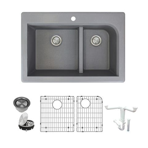 Transolid Radius Granite 33-in Drop-In Kitchen Sink Kit with Grids, Strainers and Drain Installation Kit