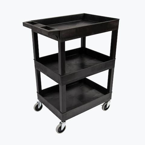 Luxor 24x18 Plastic Utility cart- Three Shelf Black - N/A