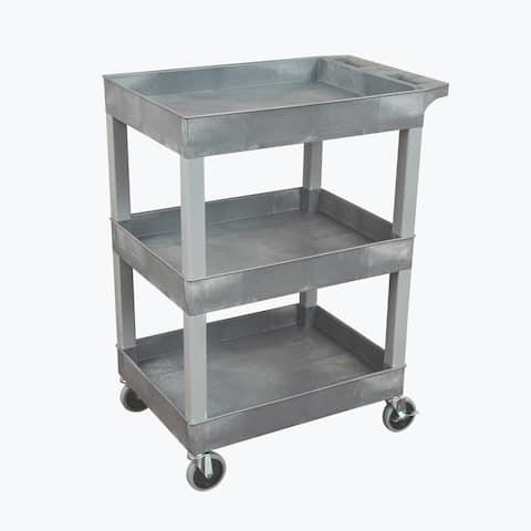 Luxor 24x18 Plastic Utility Tub Cart Cart- Three Shelf Gray