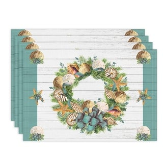"""Christmas By The Sea Placemat Set - 13""""X19"""""""