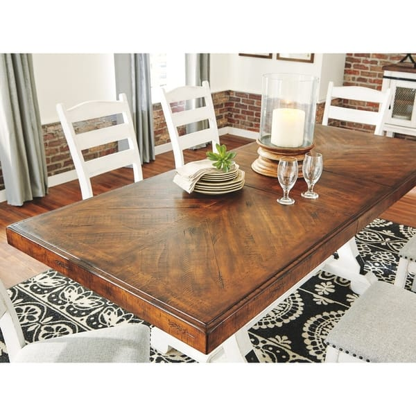 Valebeck Rectangular Dining Room Table White Brown Overstock 29057235