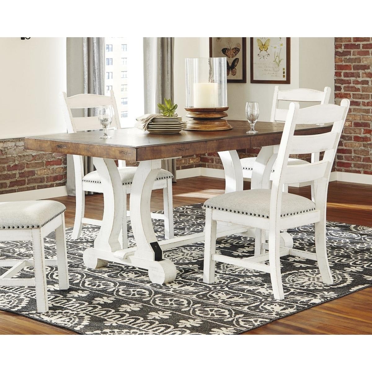 Valebeck Rectangular Dining Room Table - White/Brown - Overstock