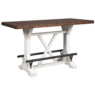Valebeck Rectangular Dining Room Counter Table - Brown/White