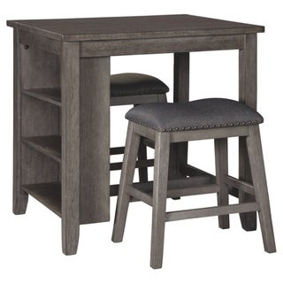 Caitbrook Rectangular Dining Room Counter Table Set of 3 - Gray