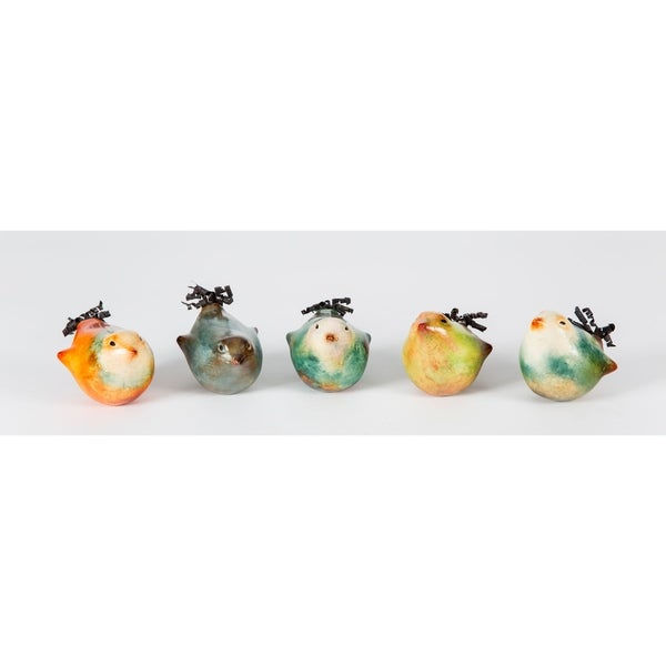 Spiral Tail Handmade Ceramic Clay Birds; Set of 5 Birds