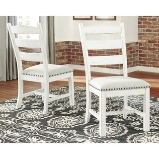 Valebeck Farmhouse Ladder Back Chair - Set of Two - White