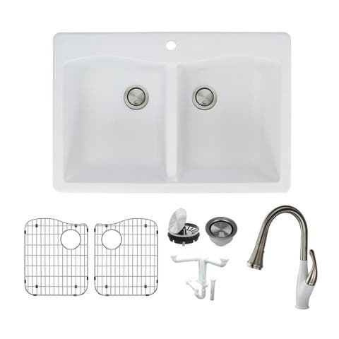 Transolid Aversa Granite 33-in Drop-In Kitchen Sink Kit with Faucet, Grids, Strainers and Drain Installation Kit