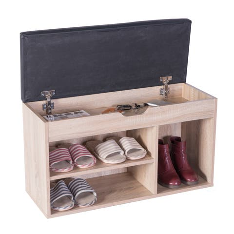 Entryway Storage Shoe Rack with Top Seat