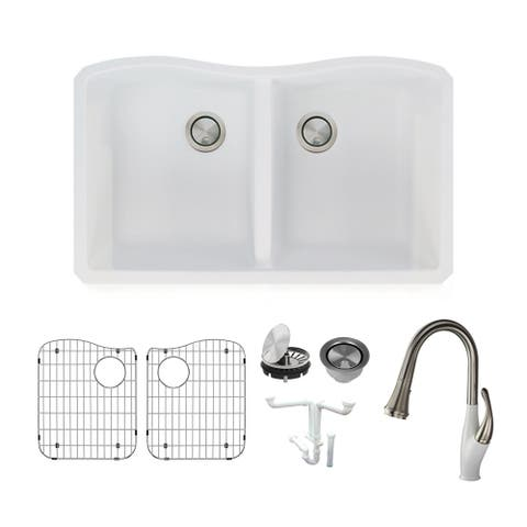 Transolid Aversa Granite 32-in Undermount Kitchen Sink Kit with Faucet, Grids, Strainers and Drain Installation Kit