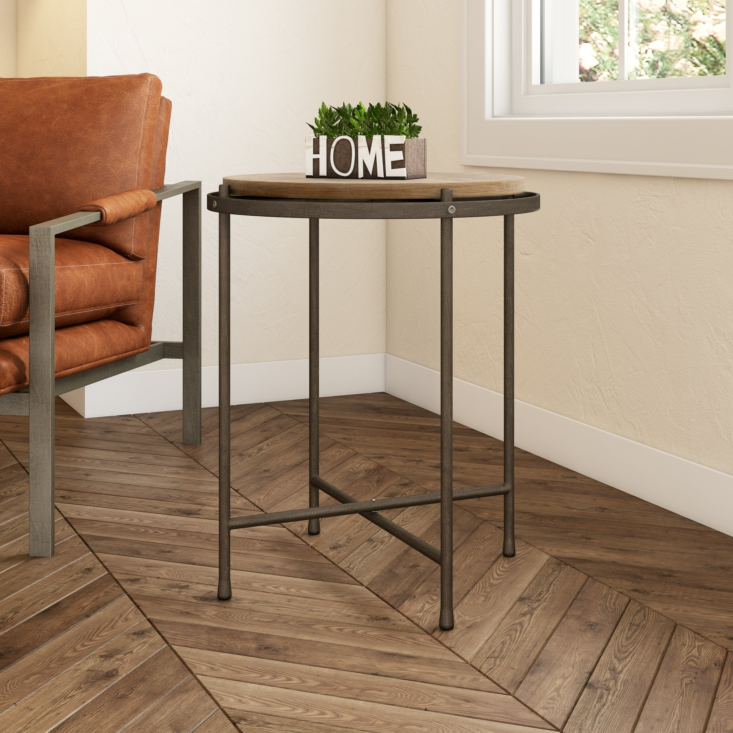 - Shop Patton Industrial Accent Table - 21.5