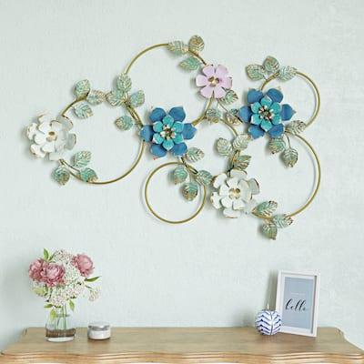 "Kamea Metal Flower Wall Decor - 27""H x 40.5""W x 1.5""D"