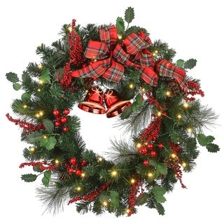 """Link to 30"""" Decorated Wreath with Battery Operated LED Lights Similar Items in Christmas Decorations"""
