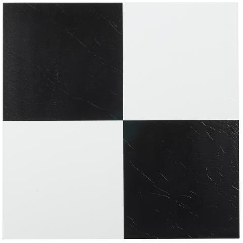 Achim Sterling Black-White 12x12 Vinyl Floor Tile (45 Tiles/45 sq ft)