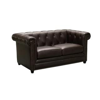 Barrington Brown Leather Loveseat