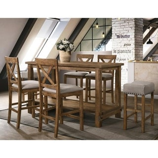 Best Master Furniture Driftwood 7 Pieces Counter Height Set