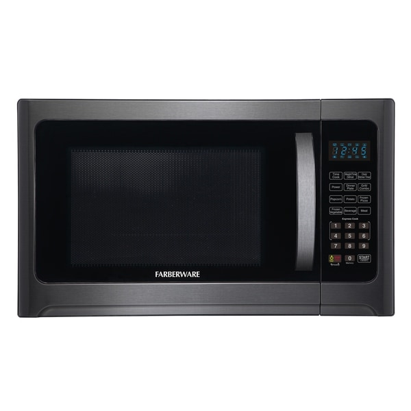 Farberware Black FMO12AHTBSG 1.2 Cu. Ft. 1100-Watt Microwave Oven with Grill, Black Stainless Steel