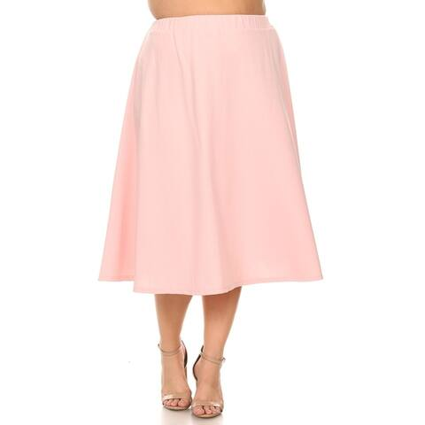 Casual Basic Solid Color A-Line Silhouette Plus Size Pleated Midi Skirt