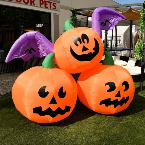 ALEKO Outdoor Yard Decoration Halloween Inflatable 3 Pumpkins 6 ft - 10.5 x 3.6 x 6 Feet