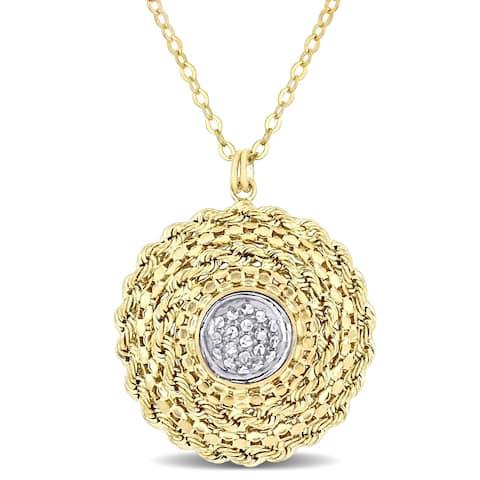 Miadora 2-Tone 10k Yellow and White Gold Circle Necklace
