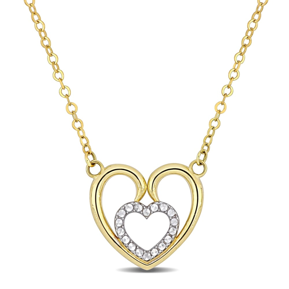10k Two-tone With White Rhodium Cubic Zirconia Guadalupe In Heart Pendant