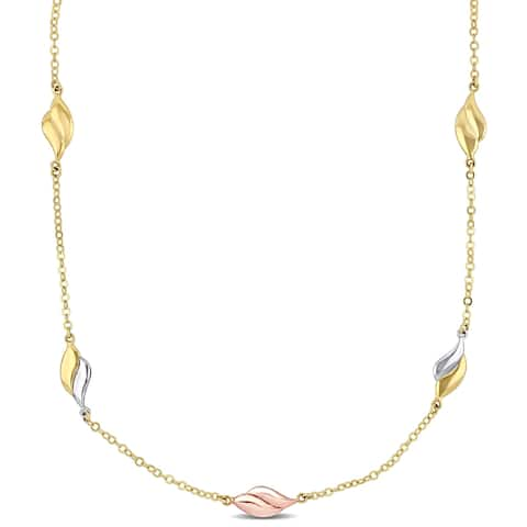 Miadora 10k Yellow Gold Station Necklace with White and Rose Gold Accents