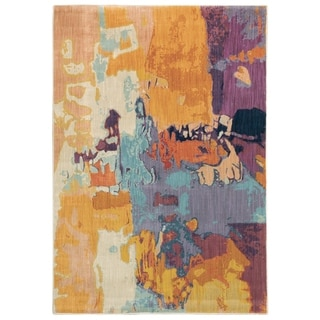 Ximena Artist Abstract Orange/ Purple Area Rug