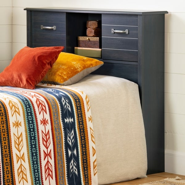 South Shore Asten Bookcase Headboard with Doors, Blueberry