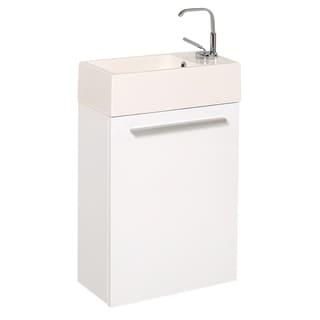 "Fresca Pulito 16"" Small White Modern Bathroom Vanity w/ Integrated Sink"