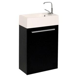 "Fresca Pulito 16"" Small Black Modern Bathroom Vanity w/ Integrated Sink"