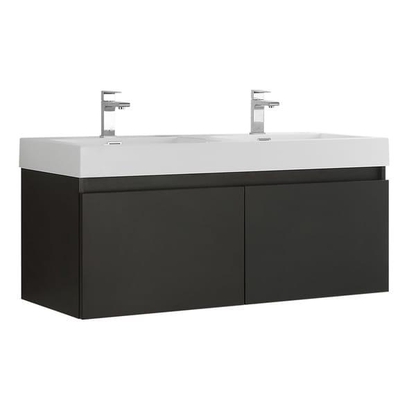 "Fresca Mezzo 48"" Black Wall Hung Double Sink Modern Bathroom Cabinet w/ Integrated Sink"