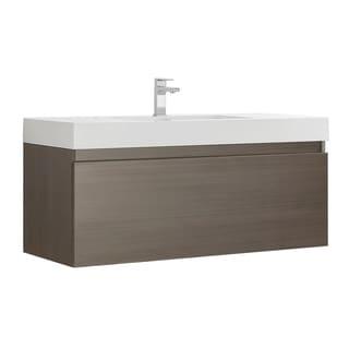 """Fresca Mezzo 48"""" Gray Oak Wall Hung Modern Bathroom Cabinet w/ Integrated Sink"""