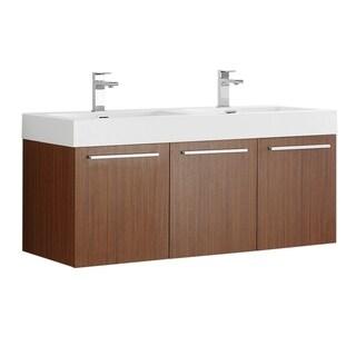 "Fresca Vista 48"" Teak Wall Hung Double Sink Modern Bathroom Cabinet w/ Integrated Sink"