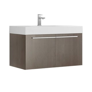 "Fresca Vista 36"" Gray Oak Modern Bathroom Cabinet w/ Integrated Sink"