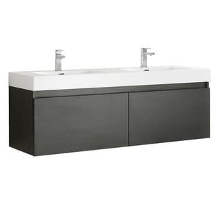 "Fresca Mezzo 60"" Black Wall Hung Double Sink Modern Bathroom Cabinet w/ Integrated Sink"