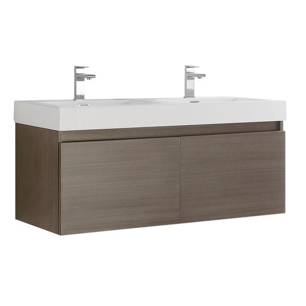 """Fresca Mezzo 48"""" Gray Oak Wall Hung Double Sink Modern Bathroom Cabinet w/ Integrated Sink"""