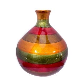 Broad Lacquered Striped Ceramic Bottle Bud Vase