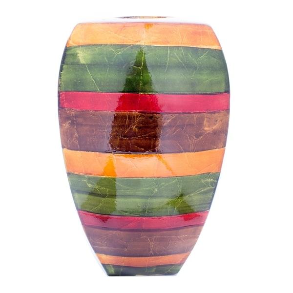 Bridget Lacquered Striped Ceramic Large Tapered Modern Vase