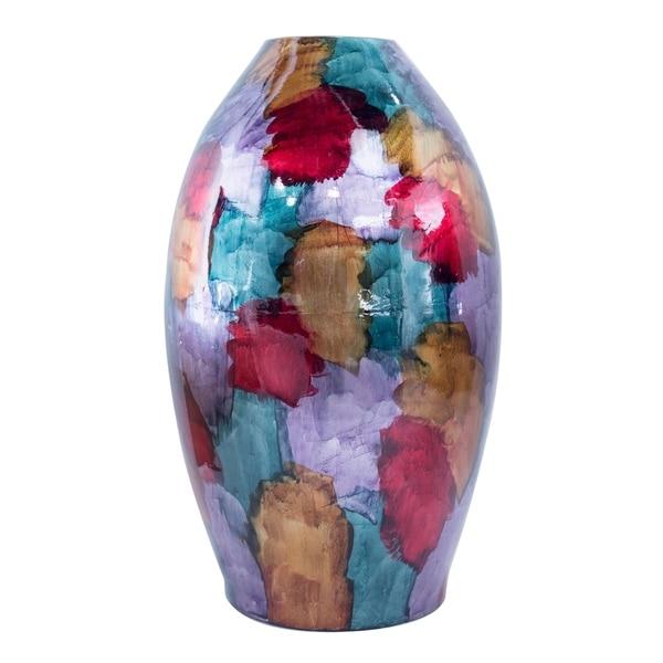 Meg Foiled & Lacquered Ceramic Tapered Cylinder Floor Vase