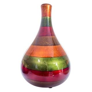Broad Lacquered Striped Ceramic Teardrop Bud Vase