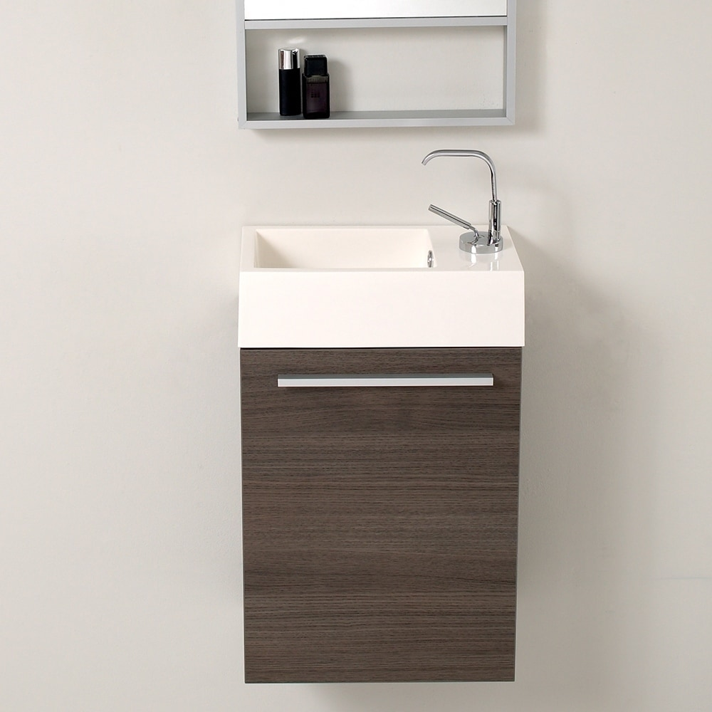 Fresca Pulito 16 Small Gray Oak Modern Bathroom Vanity W Integrated Sink Overstock 29058885