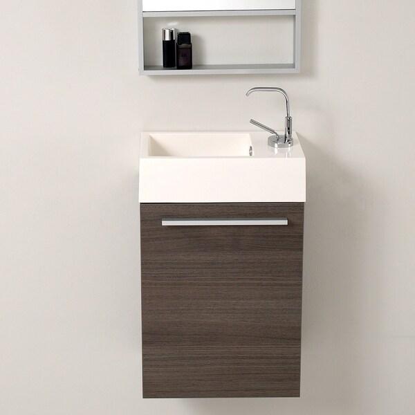 "Fresca Pulito 16"" Small Gray Oak Modern Bathroom Vanity w/ Integrated Sink"