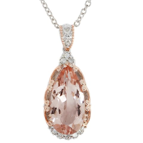 Michael Valitutti Palladium Silver Peach Morganite & White Zircon Pendant