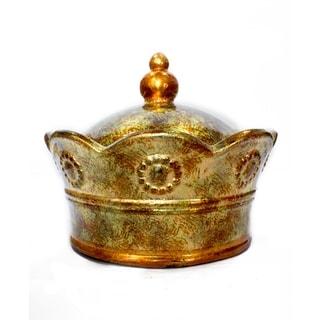 Corona Foiled & Lacquered Ceramic Crown Decorative Box