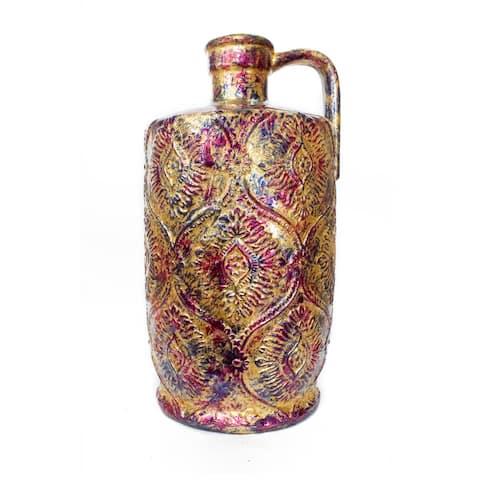 Ayana Foiled & Lacquered Ceramic Damask Stamped Jug Vase