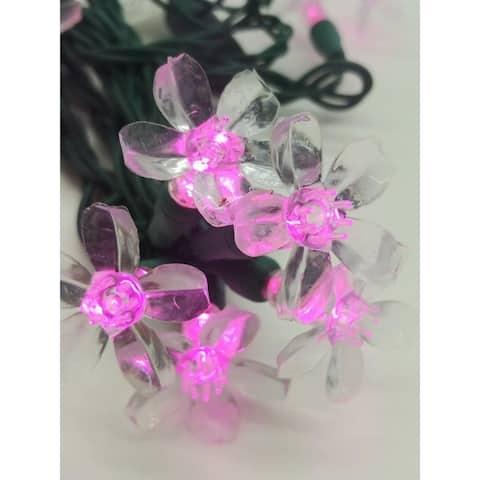 Pink Flower LED Set of 25 Lights Light String