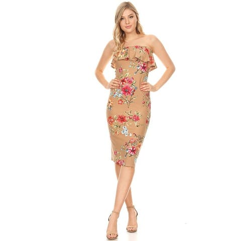 Casual Pattern Print Ruffled Layer Bodycon Slim Fit Tube Midi Dress