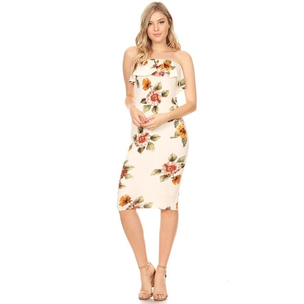 Casual Pattern Print Ruffled Layer Bodycon Slim Fit Tube Midi Dress. Opens flyout.