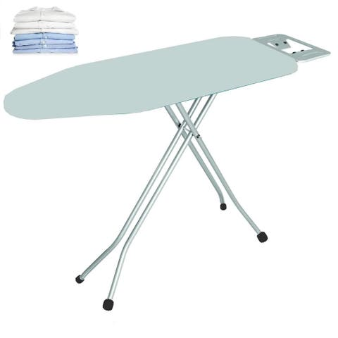 Heat Resistant Folding Ironing Board Set with Retractable Iron Rest-Adjustable Height